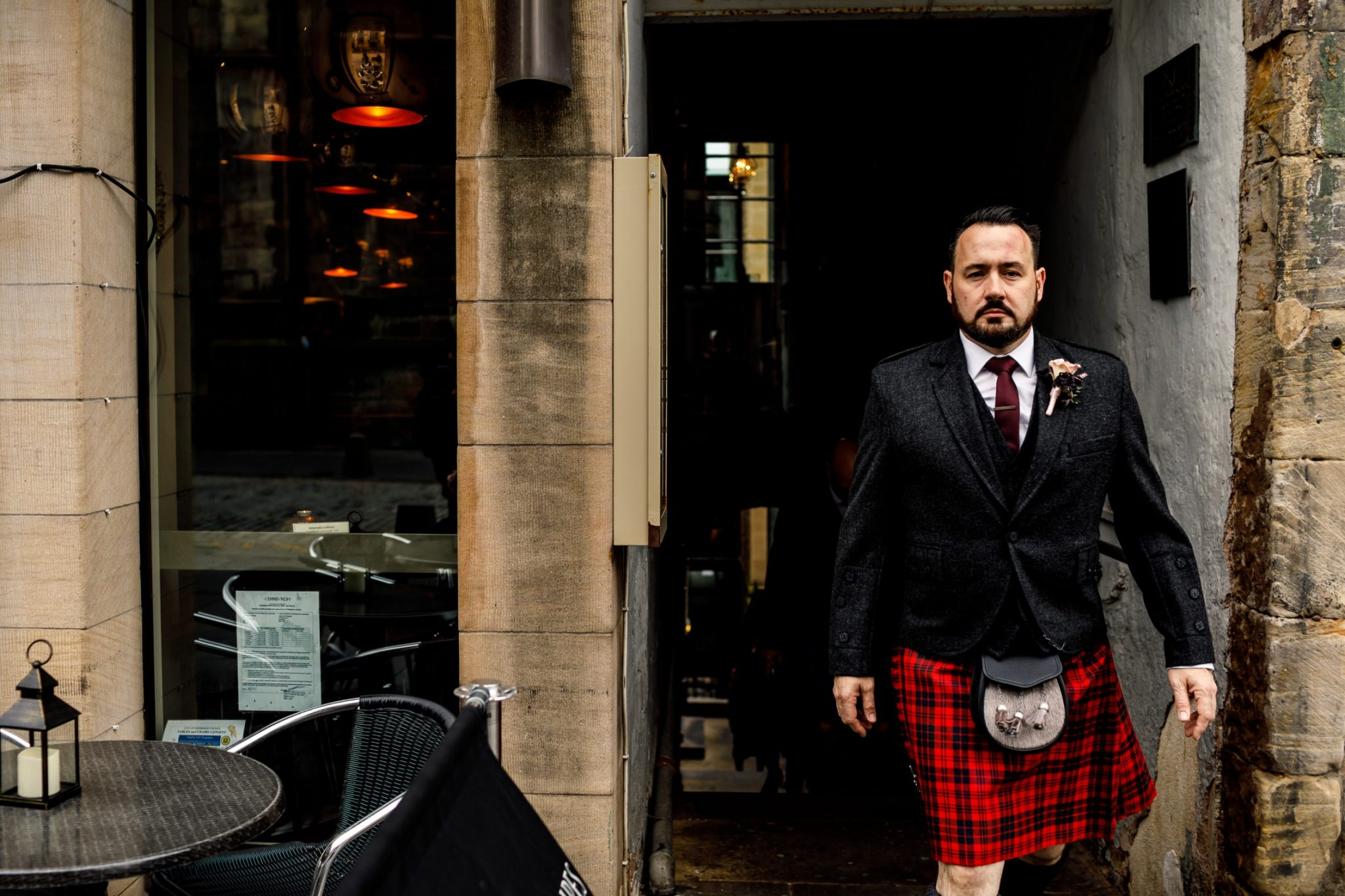 Unique Wedding Venues- Unconventional Wedding- Lina & Tom Photography- Scottish groom wearing kilt