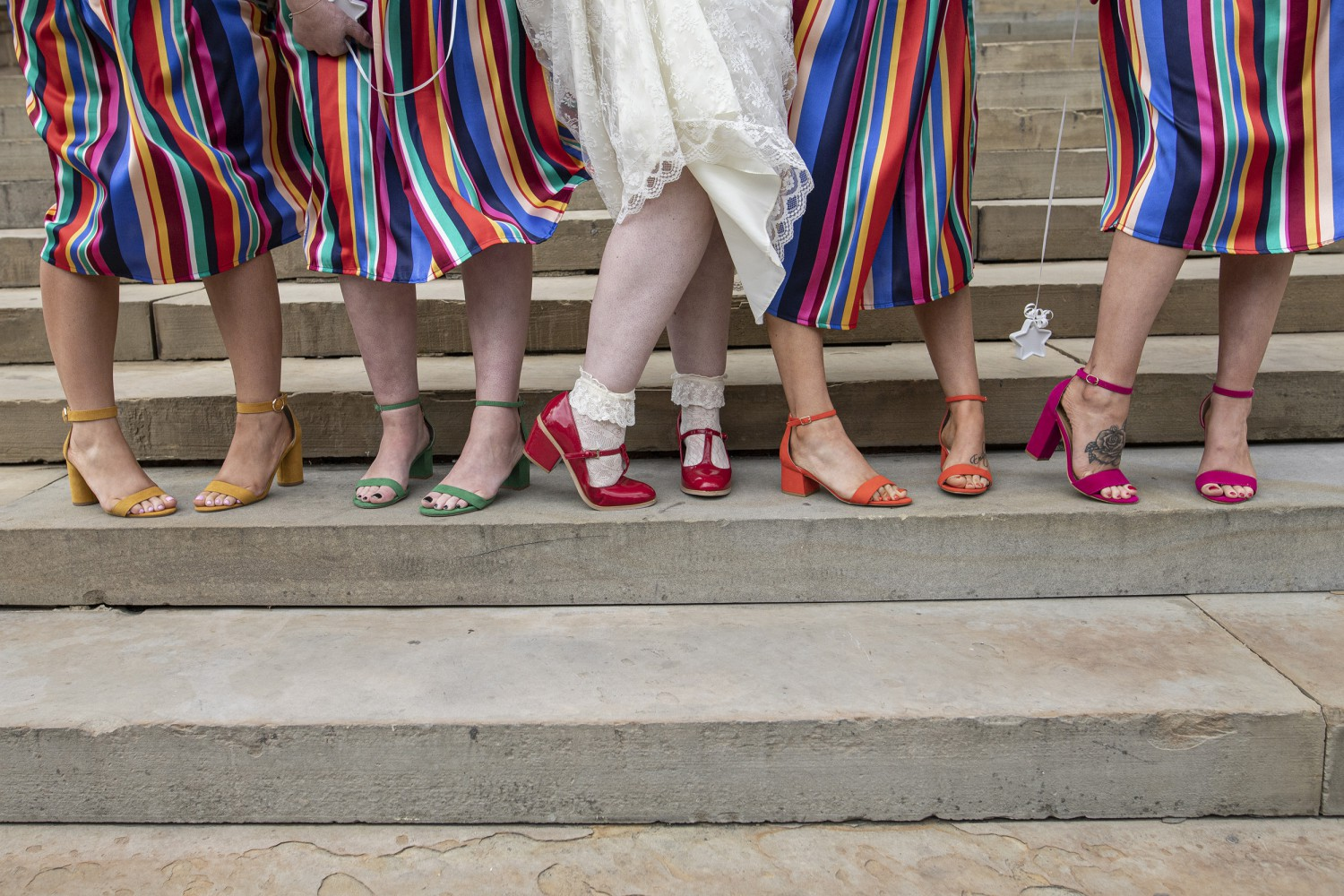 Rainbow DIY Wedding- Stephanie Butt Photography-Colourful Wedding- Unconventional Wedding- Alternative Wedding- Rainbow Wedding, Unique Bridesmaids Dresses