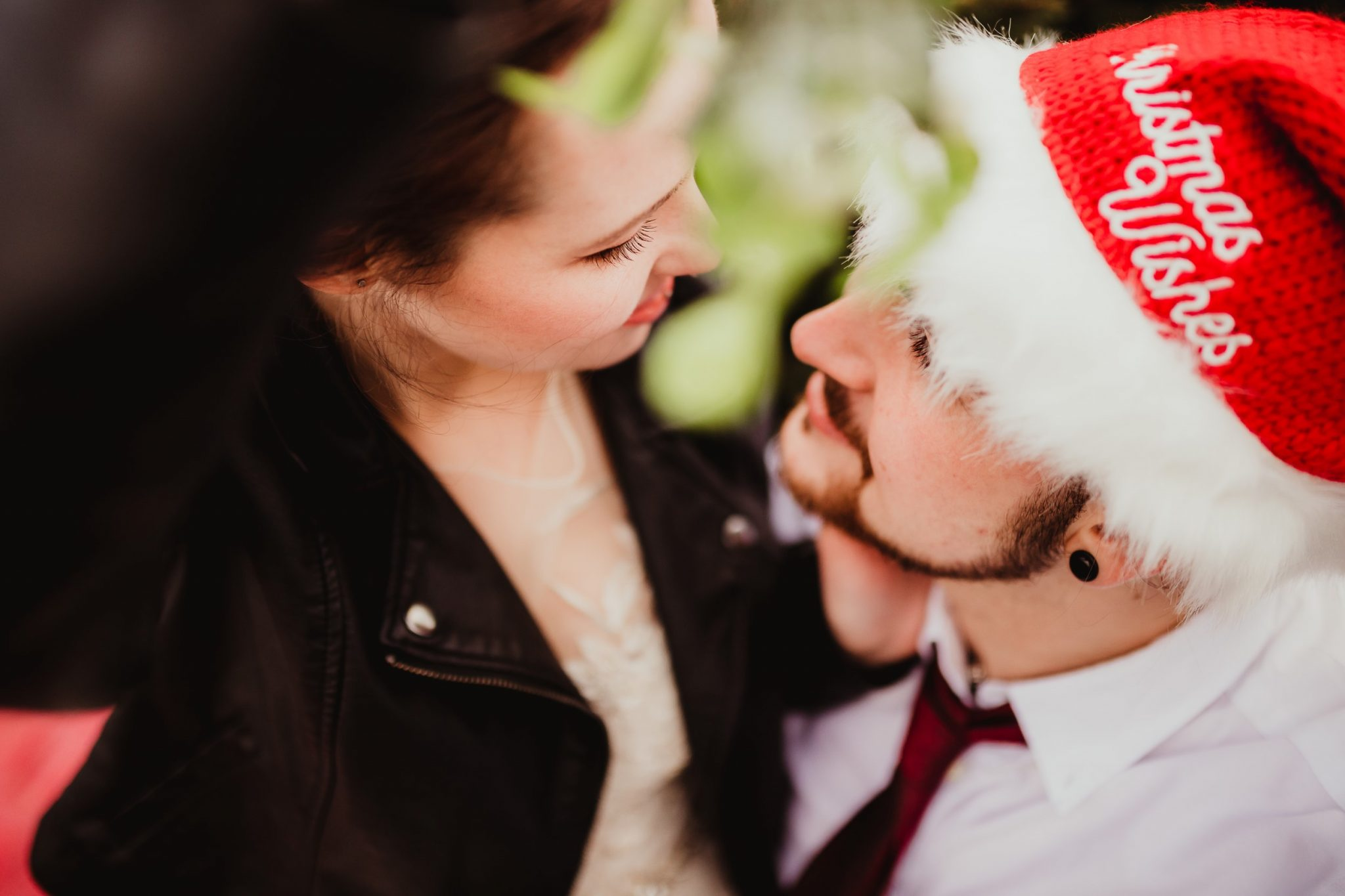 christmas elopement wedding- alternative wedding- christmas wedding- fly on the wall photography- santa hat wedding