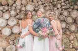 Bride tribe photo - hand painted wifey denim jacket with pink, coral, purple roses - by sammy lea's retro emporium - alternative bridal wear ideas - unique wedding wear
