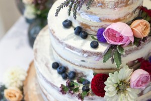 Big Day Blooms and Cakes - Wedding Florist - Wedding Cakes - Nottingham East Midlands - naked wedding cake with blueberries and pink, burgundy flowers