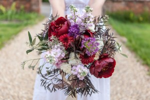 Big Day Blooms and Cakes - Wedding Florist - Wedding Cakes - Nottingham East Midlands - natural wedding bouquet with burgundy and purple tones