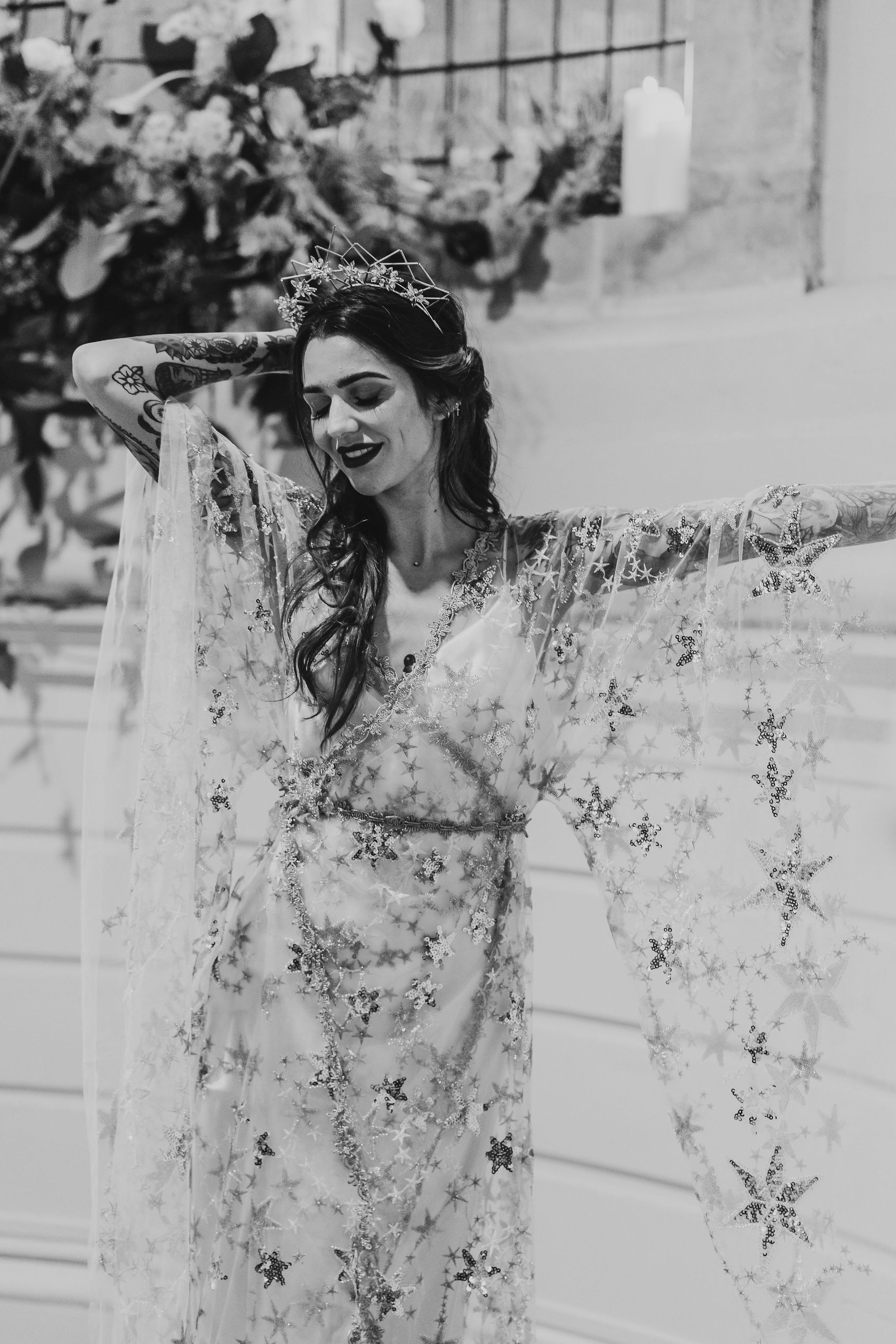 Leesha Williams Photography- Unconventional Wedding- Celestial Wedding Inspiration- alternative wedding- bohemian wedding dress- starry wedding dress