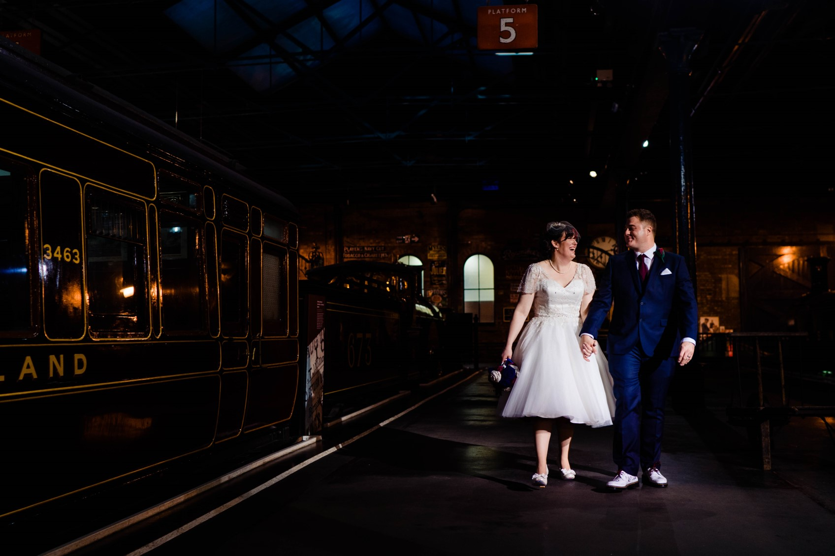 Industrial Railway Wedding- Vicki Clayson Photography- Unconventional Wedding- Unique Wedding Venue- bride and groom walking