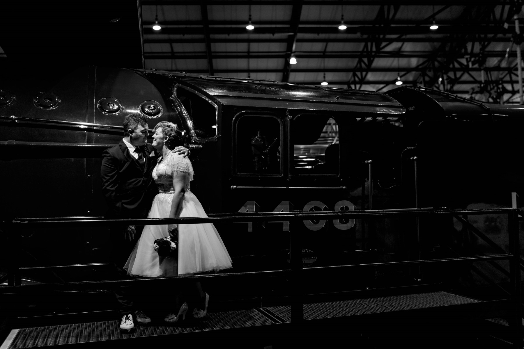 Industrial Railway Wedding- Vicki Clayson Photography- Unconventional Wedding- Unique Wedding Venue- wedding photo in train