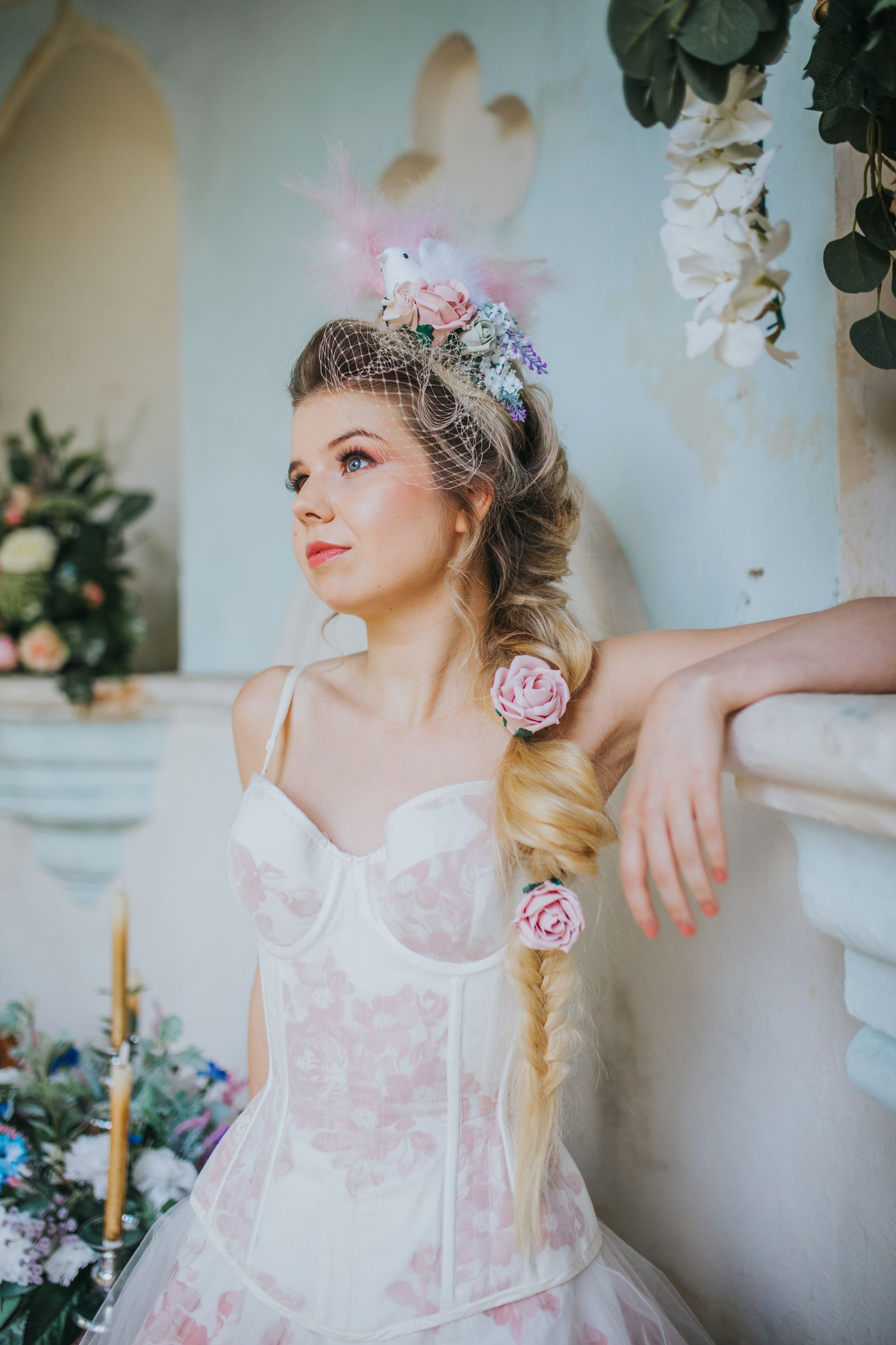 Whimsical wedding- bridal hair accessories- Laura Beresford Photography- unconventional wedding- alternative wedding- pink bride- unique wedding accessories