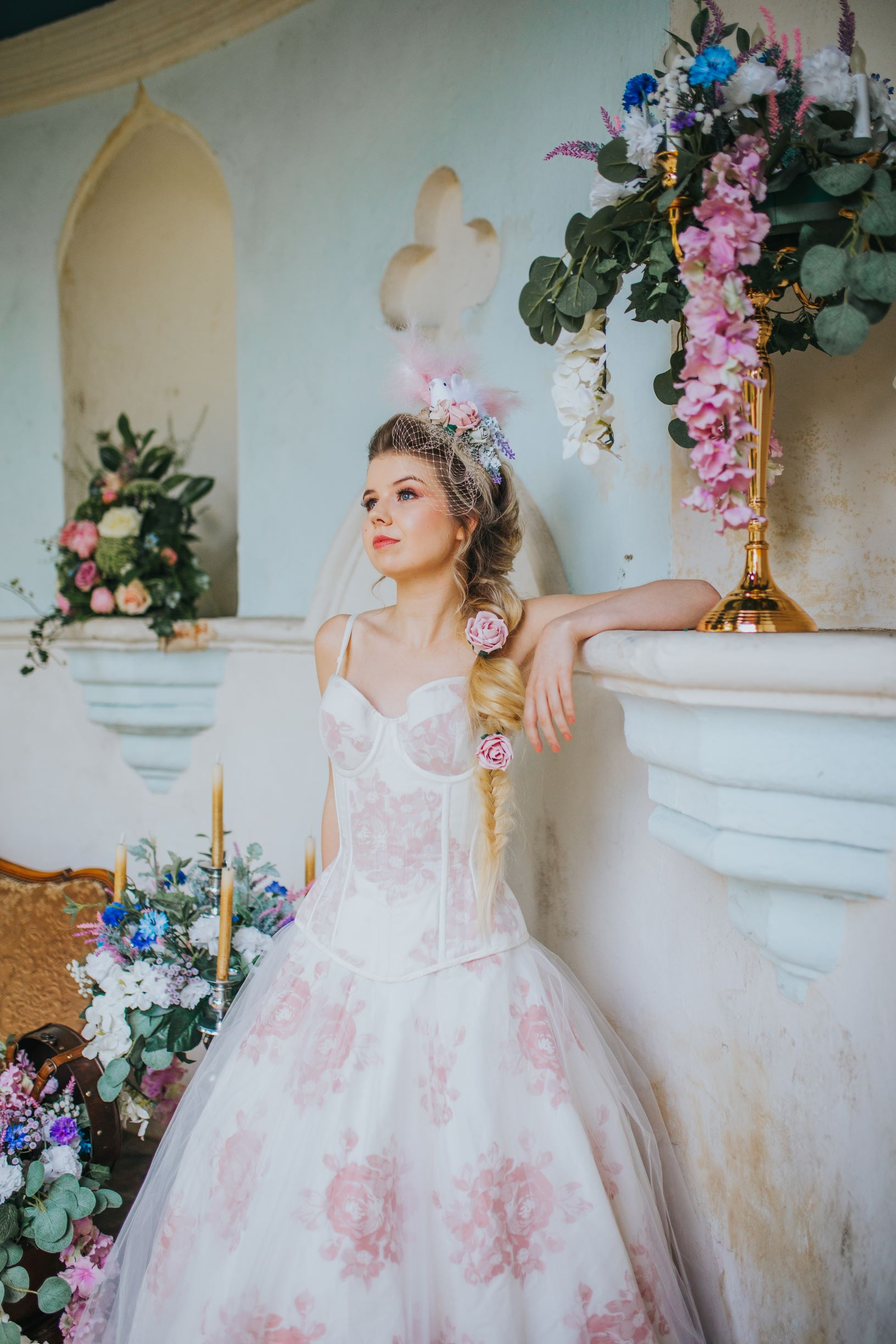 Whimsical wedding- Laura Beresford Photography- unconventional wedding- alternative wedding- flowery wedding dress- unique wedding dress- pink wedding dress- unique wedding venue