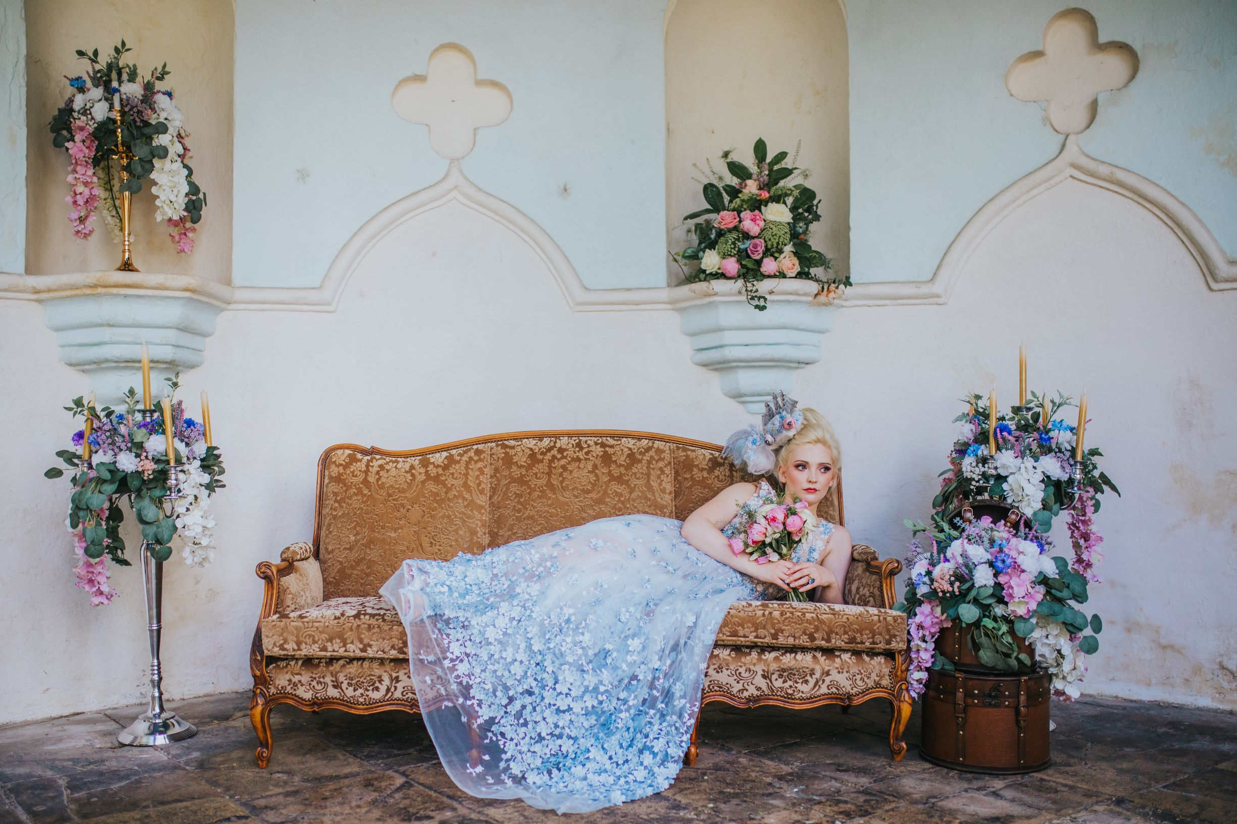 Whimsical wedding- Laura Beresford Photography- unconventional wedding- alternative wedding- bride lying down, blue wedding dress, Versailles wedding- unique wedding dress