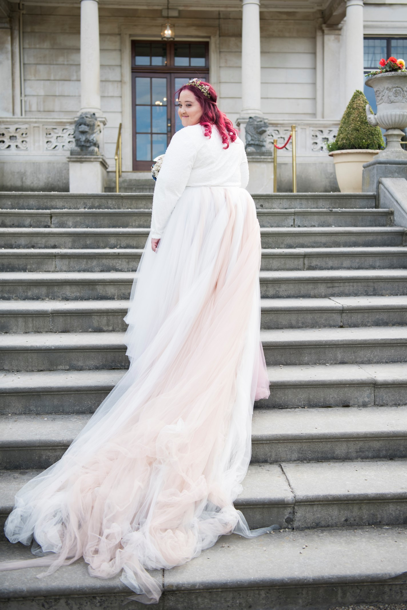 Zoo Wedding- Emma May Photography- Unconventional Wedding- Unique Wedding Inspiration- Pink Wedding Dress with train