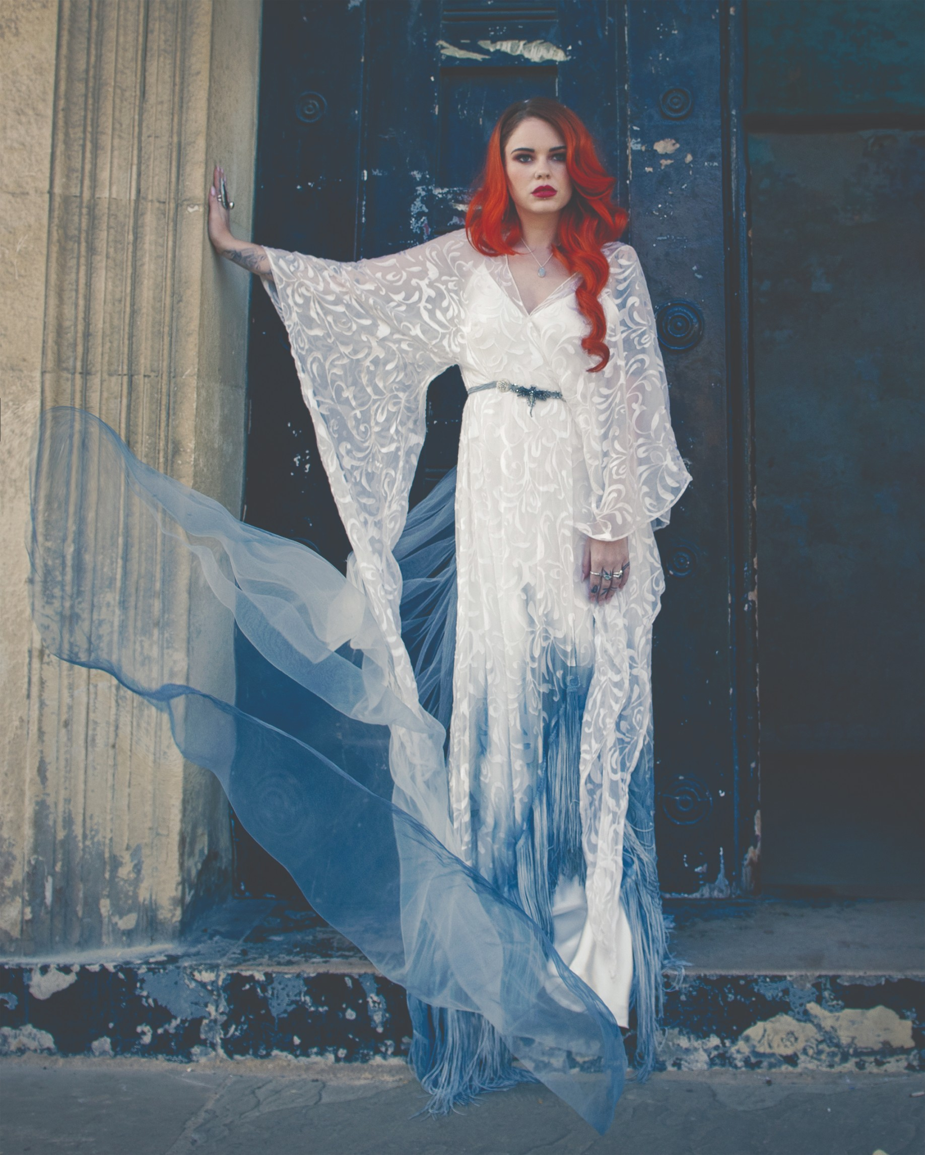 bexbrides- ombre wedding dress- alternative wedding dress- unique wedding dress- uk wedding dress maker- bohemian wedding dresses- flared sleeve wedding dress