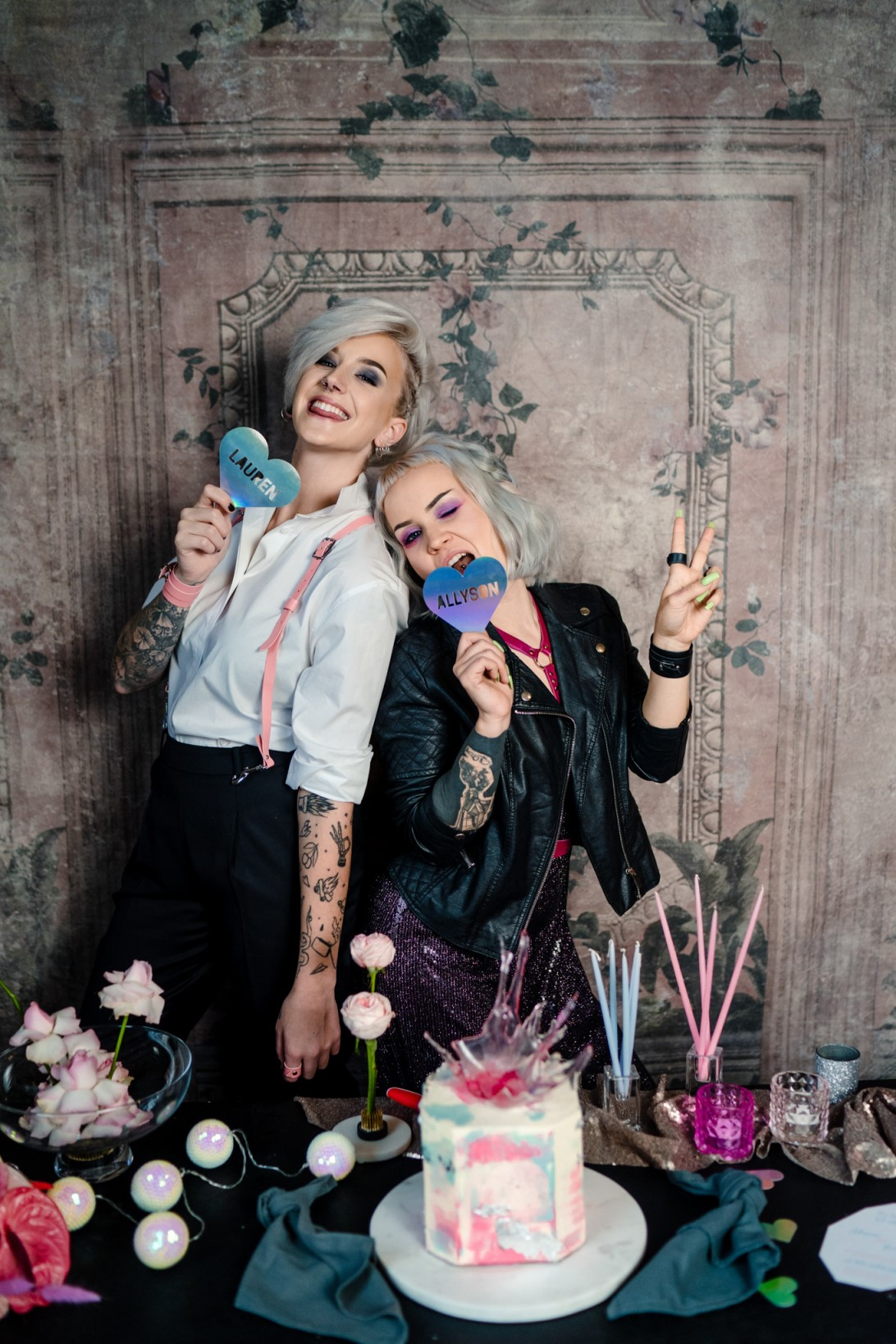 Individual Wedding Inspiration- Alexandra Fehér Photography- unique wedding inspiration-rock and roll wedding inspiration- neon wedding- lgbtq wedding- same sex wedding- fun wedding photos