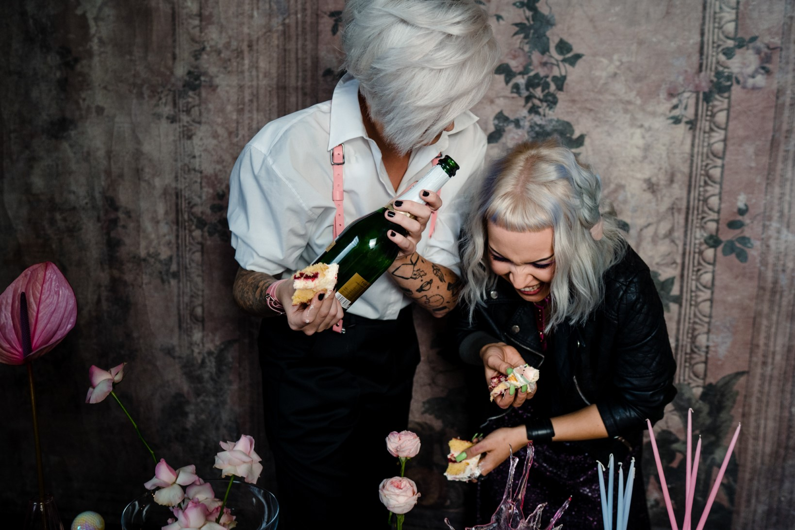 Individual Wedding Inspiration- Alexandra Fehér Photography- unique wedding inspiration-rock and roll wedding inspiration- neon wedding- lgbtq wedding- same sex wedding- wedding champagne