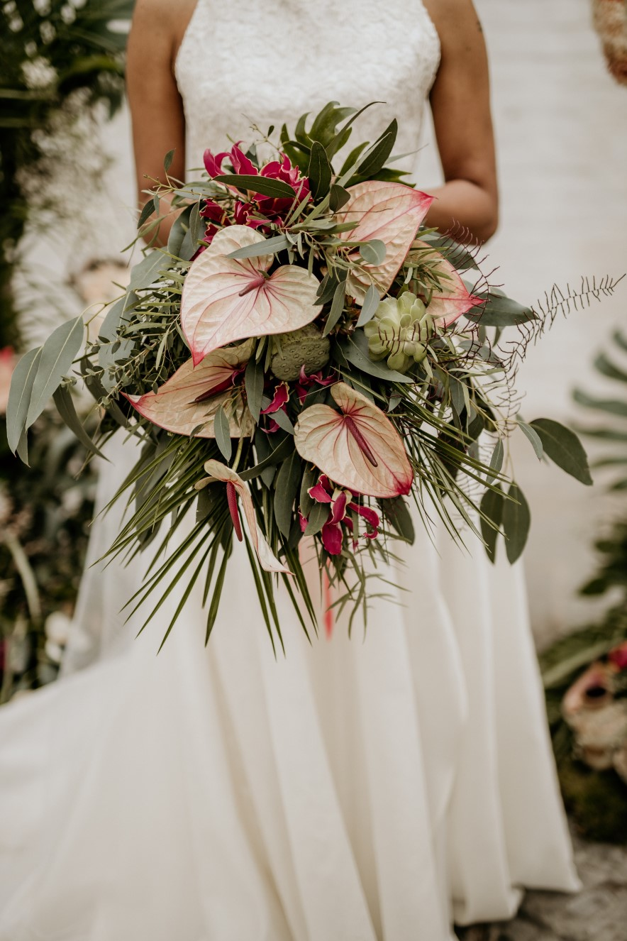 tropical opulence wedding- tropulence- twigs branch photography- unconventional wedding- tropical bouquet- tropical wedding bouquet- bold wedding flowers