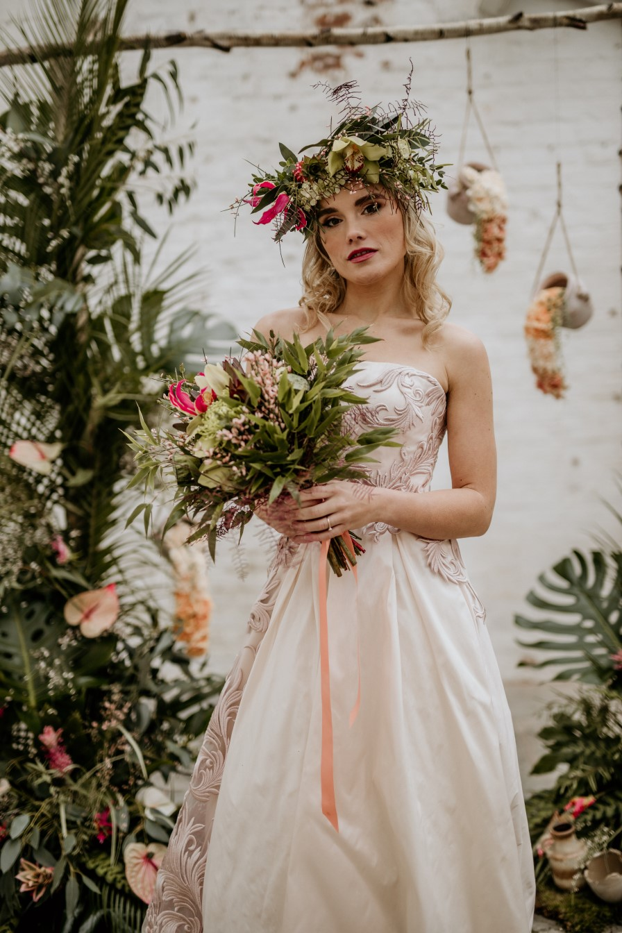 tropical opulence wedding- tropulence- twigs branch photography- unconventional wedding- bohemian bridal look- wedding flower crown