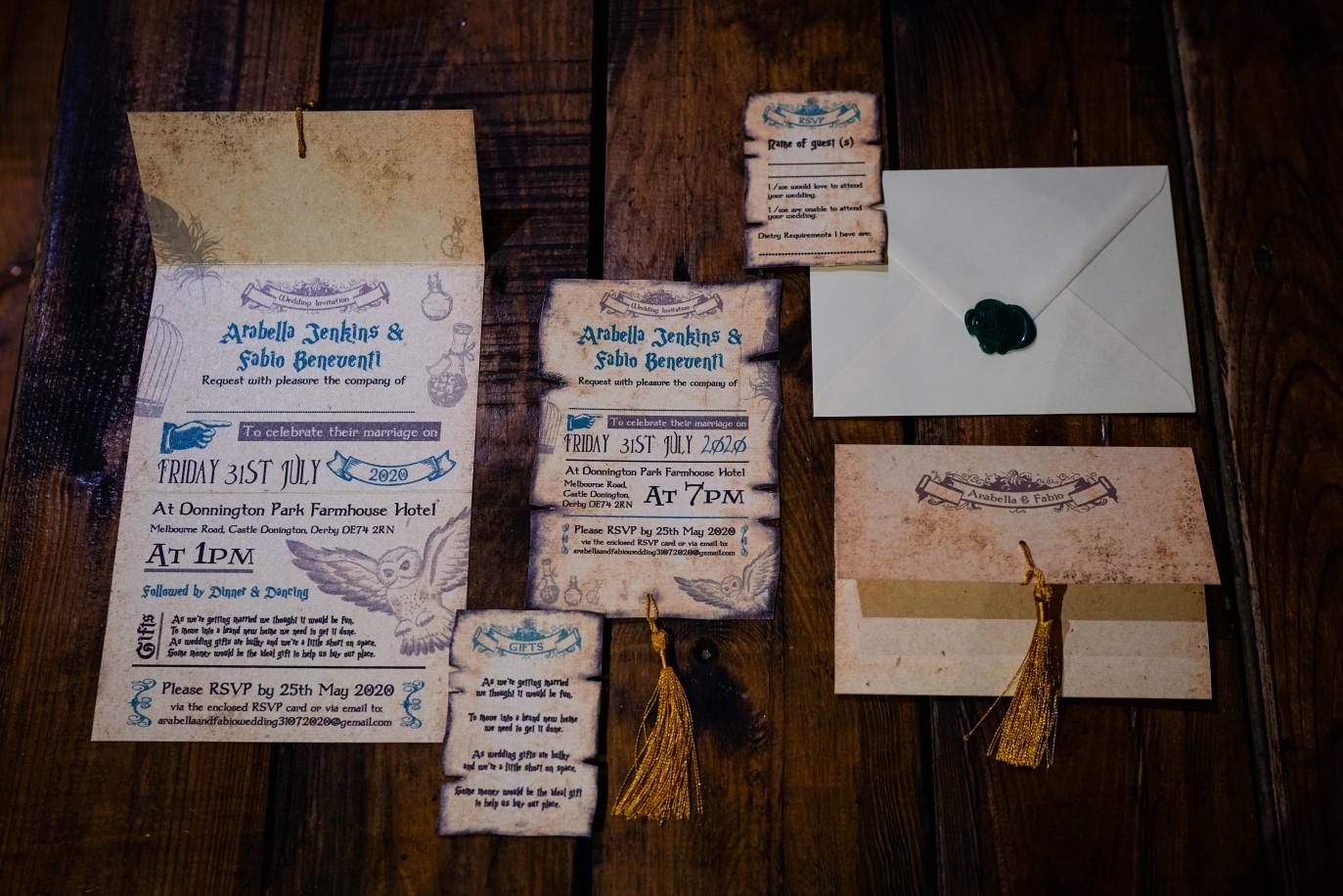 Harry Potter Wedding Stationery- Popplebird Stationery-2- Vicki Clayson Photography