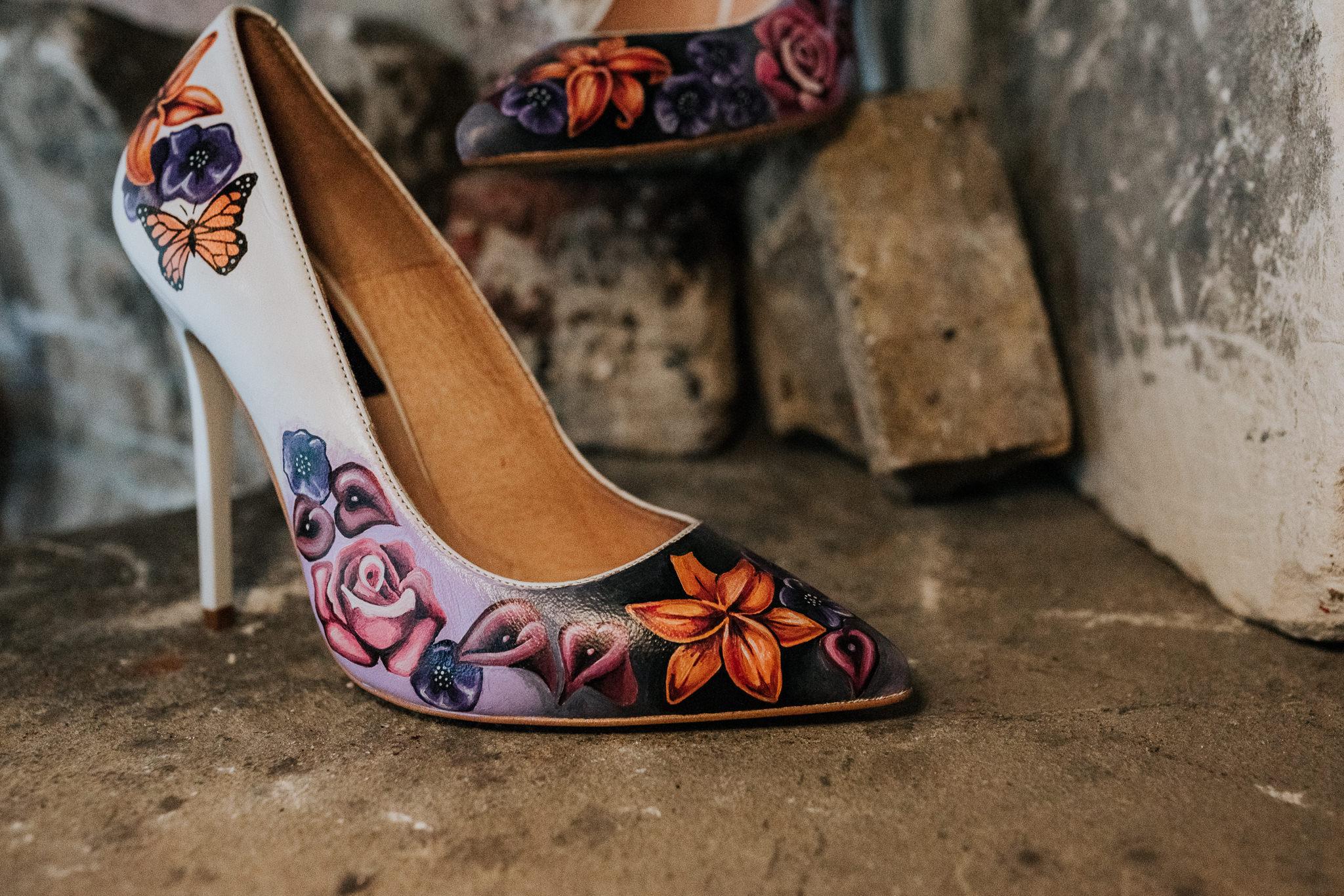 alternative chapel wedding- asylum london- unique london wedding venue- london wedding venue- Jenny Appleton Photography- hand painted wedding shoes- bespoke wedding shoes