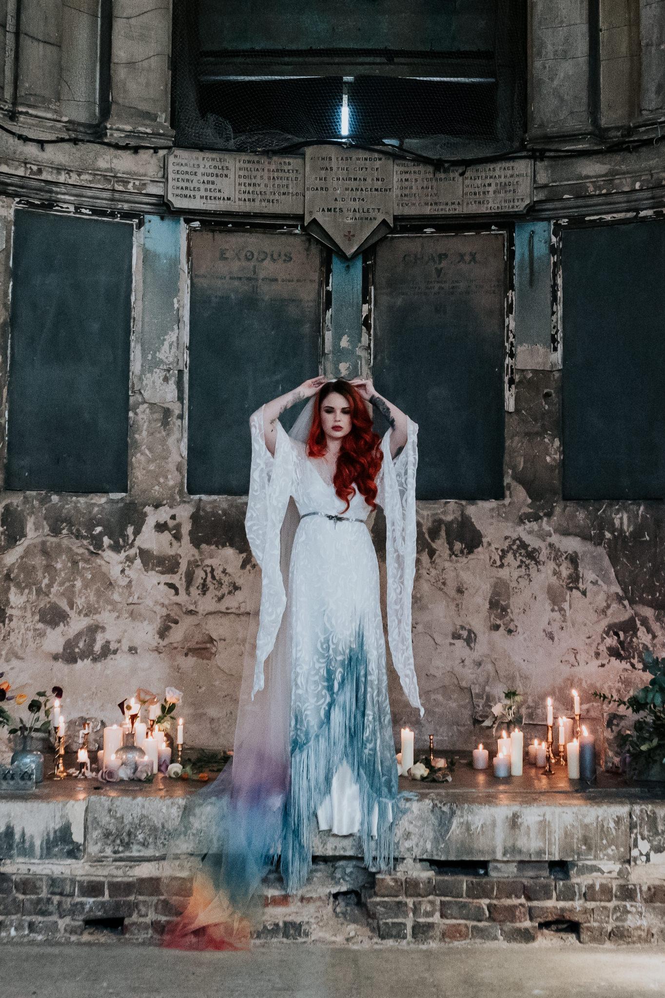 alternative chapel wedding- asylum london- unique london wedding venue- london wedding venue- Jenny Appleton Photography- alternative wedding dress- dip dye wedding dress