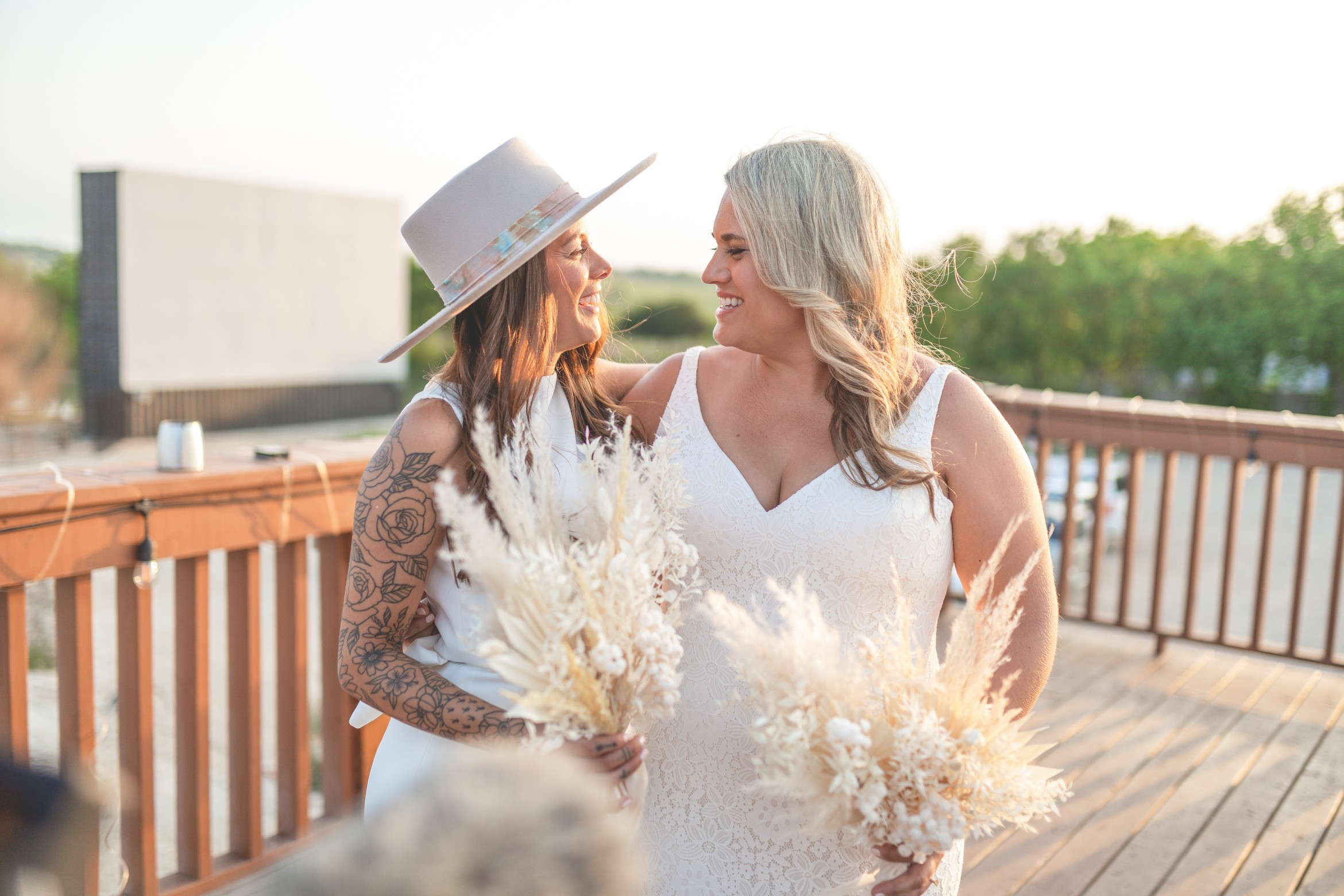 Pandemic Wedding- LGBT Wedding- Unique wedding bouquets- Texas Wedding- Greg Fulks Photography- Pop up wedding- lesbian wedding