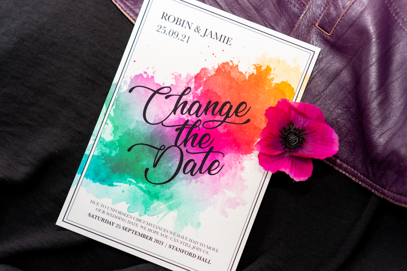 Change The Date Wedding Invitation- Unique To You Celebrancy- Doodah Designs- Postponed Wedding- Unconventional Wedding