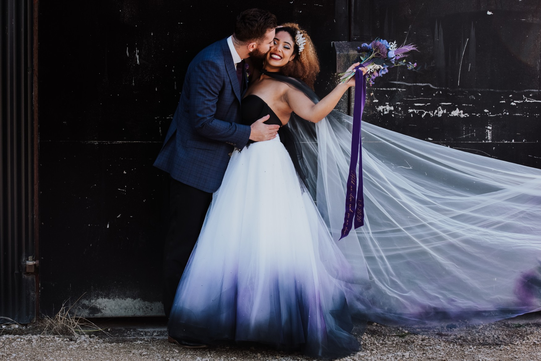 black and purple ombre wedding dress with matching veil from bexbrides