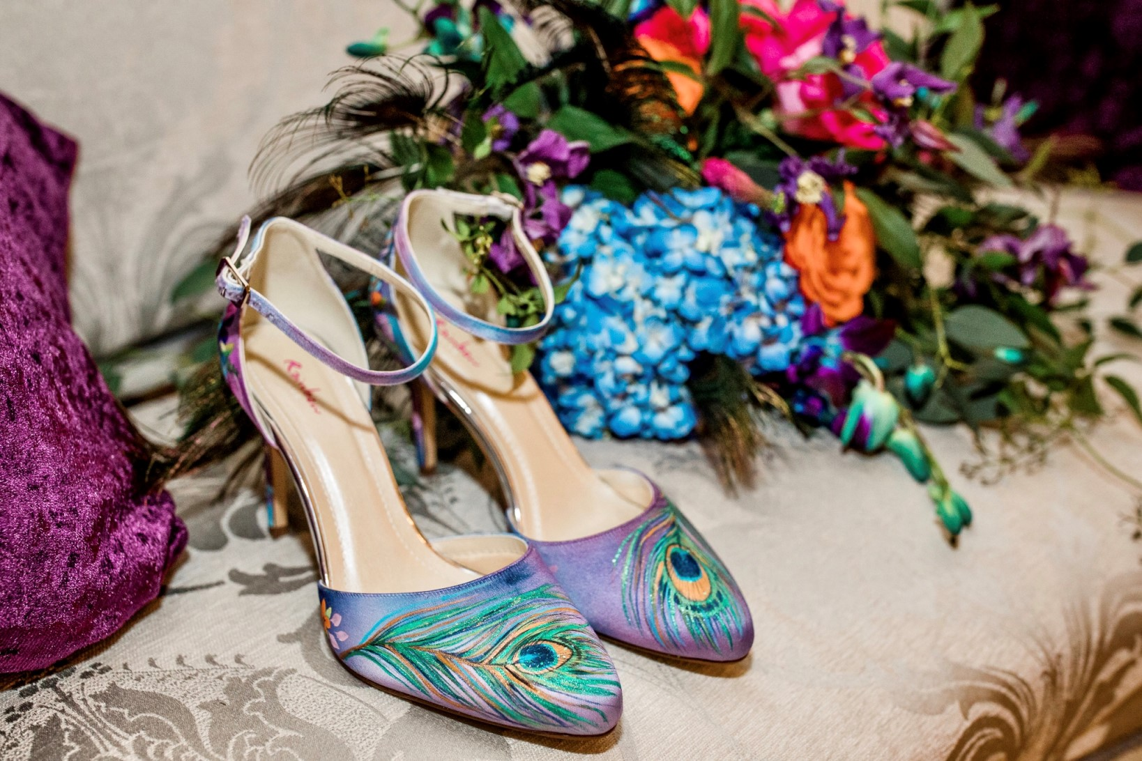 peacock wedding- unconventional wedding- hand painted wedding shoes- peacock wedding shoes- unique bridal shoes