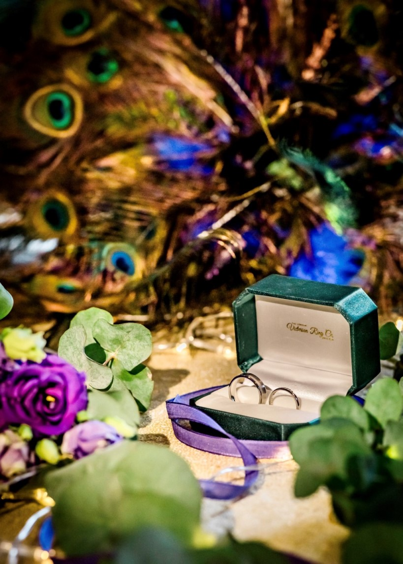 peacock wedding- unconventional wedding- peacock wedding styling- unique wedding rings