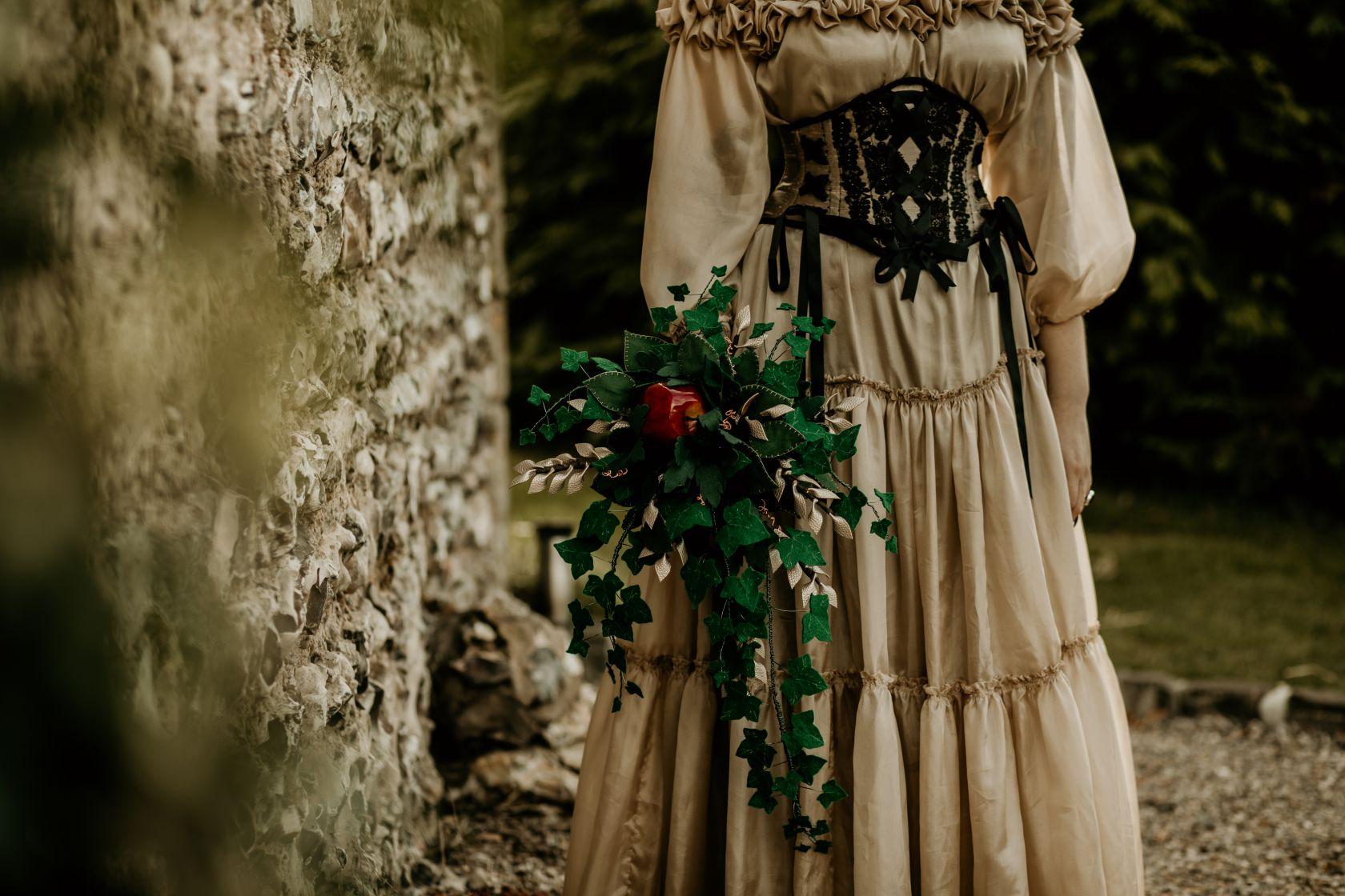 alternative fairytale wedding- snow white wedding- charlotte laurie designs-chloe mary photo- unconventional wedding- alternative wedding inspiration- corset wedding dress- coloured wedding dress