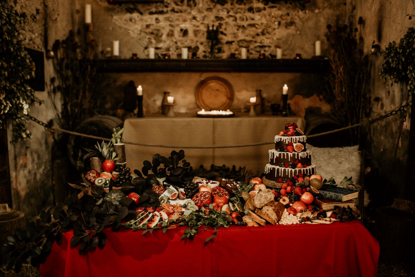 alternative fairytale wedding- snow white wedding- charlotte laurie designs-chloe mary photo- unconventional wedding- alternative wedding inspiration- wedding grazing table
