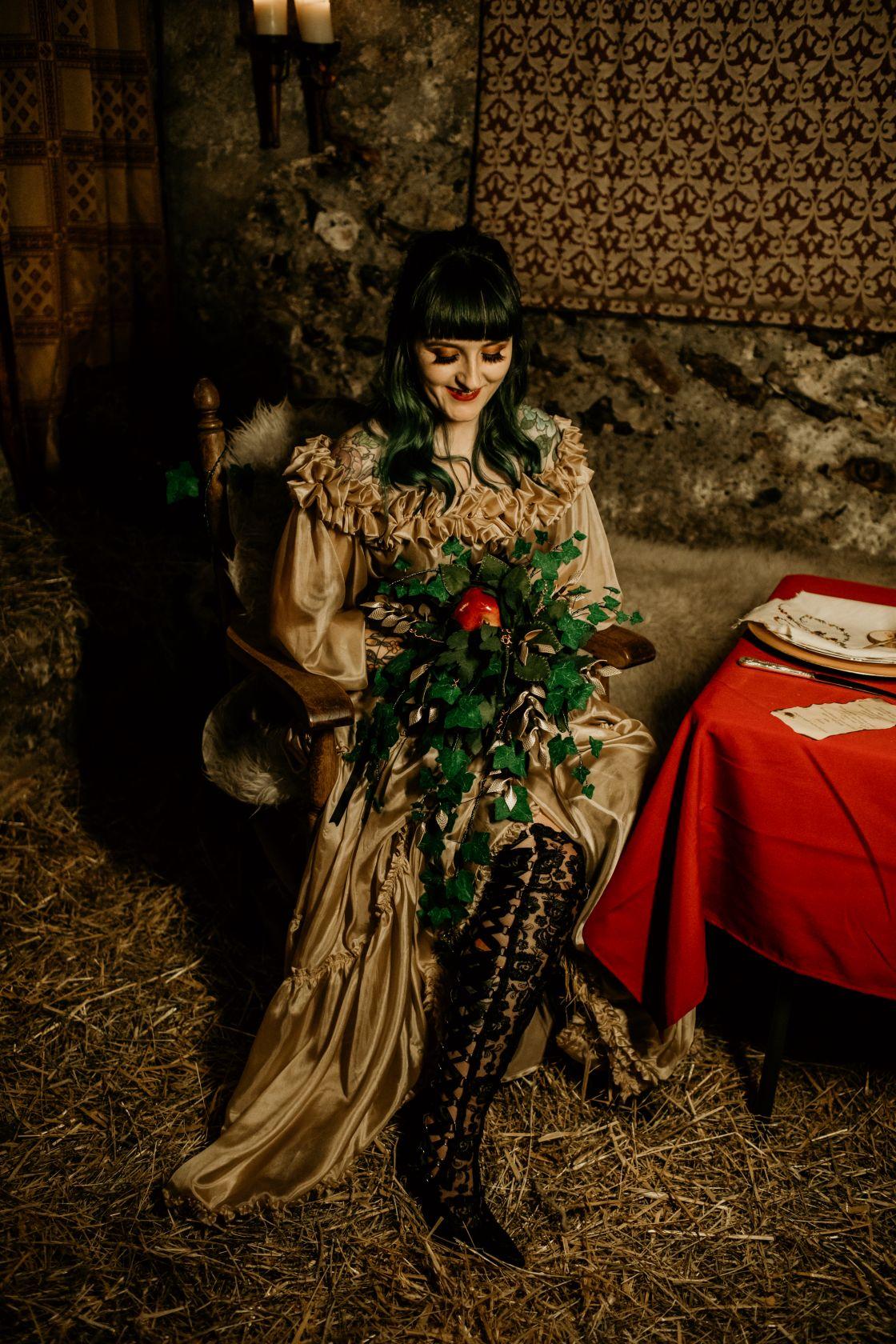 alternative fairytale wedding- snow white wedding- charlotte laurie designs-chloe mary photo- unconventional wedding- alternative wedding inspiration- alternative bridal look
