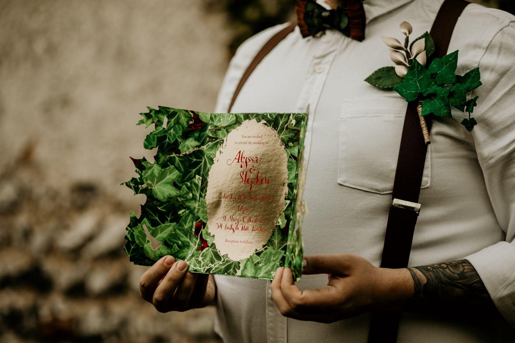 alternative fairytale wedding- snow white wedding- charlotte laurie designs-chloe mary photo- unconventional wedding- alternative wedding inspiration- fairytale wedding invitation- unique wedding stationery