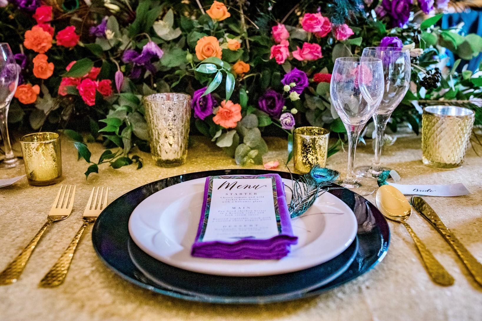 Peacock Wedding- Colourful wedding table- colourful wedding flowers- peacock colour scheme- unconventional wedding