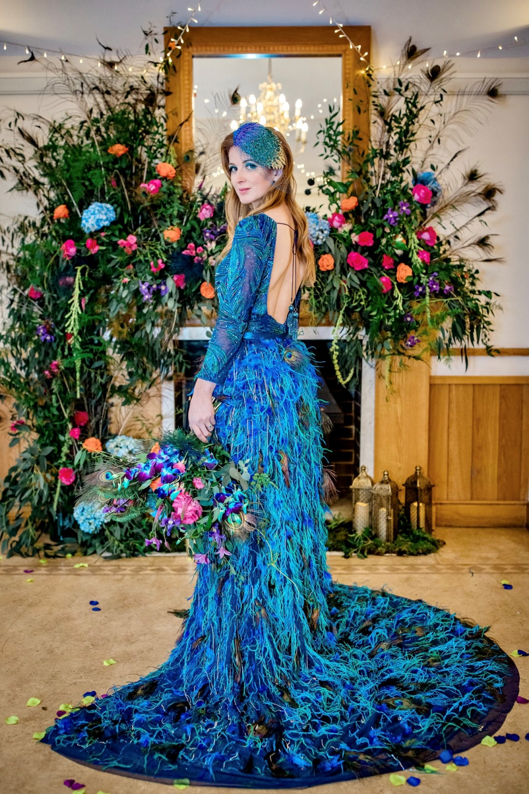 Peacock Wedding-Unique Wedding Dress- Peacock Wedding Dress- Coloured Wedding Dress- Alternative Wedding Dress