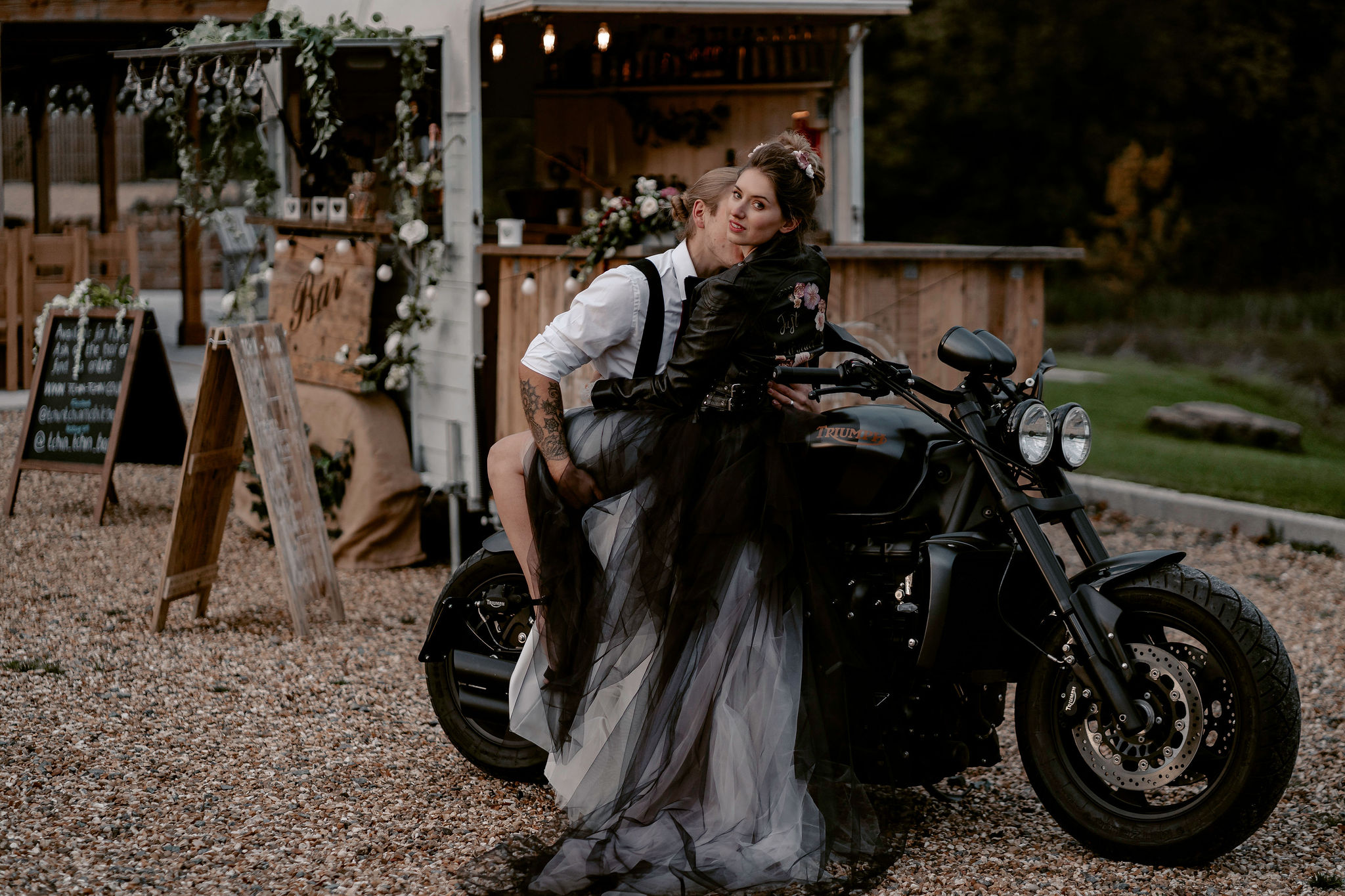 Ryley and Flynn - alternative wedding dress - black and white wedding dress on motorbike - awesome black wedding gown