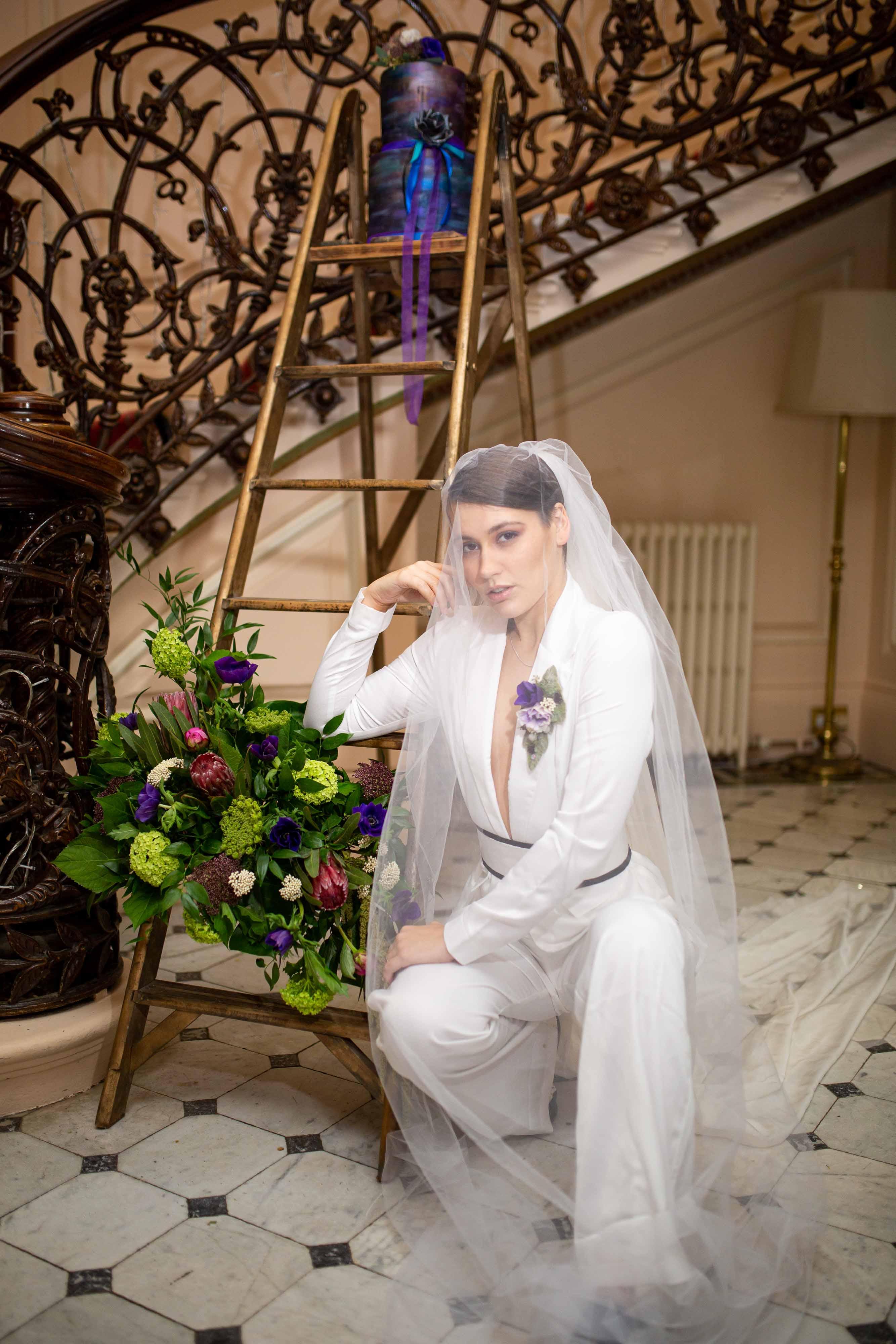 iconic wedding looks- music themed wedding- unconventional wedding- alternative wedding- annie lennox style- wedding suit- alternative wedding look- womens wedding suit- wedding jumpsuit