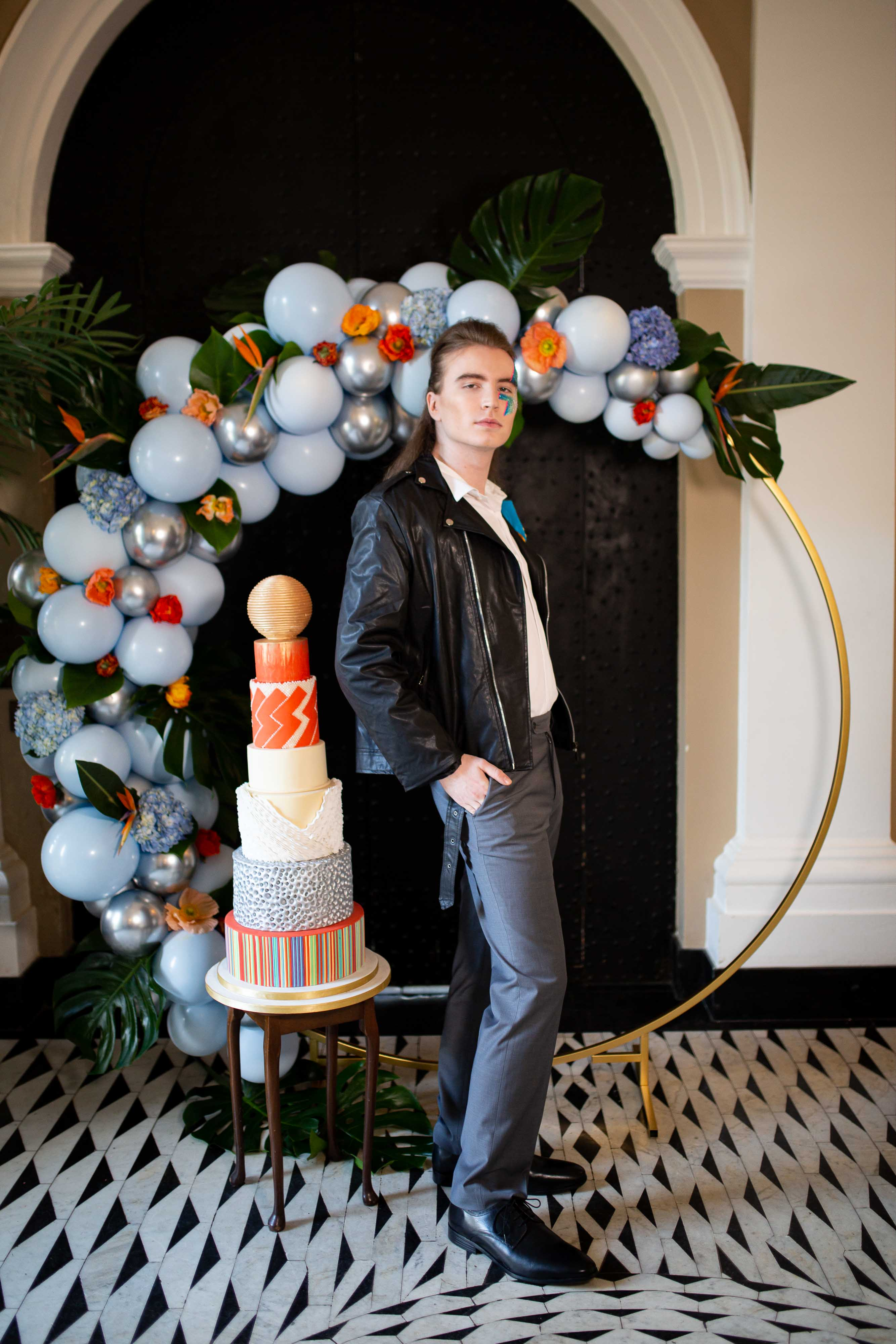 wedding menswear- alternative groomswear- music themed wedding- bake to the future- florence berry photography- extravagant wedding cake- unique wedding balloons- david bowie wedding