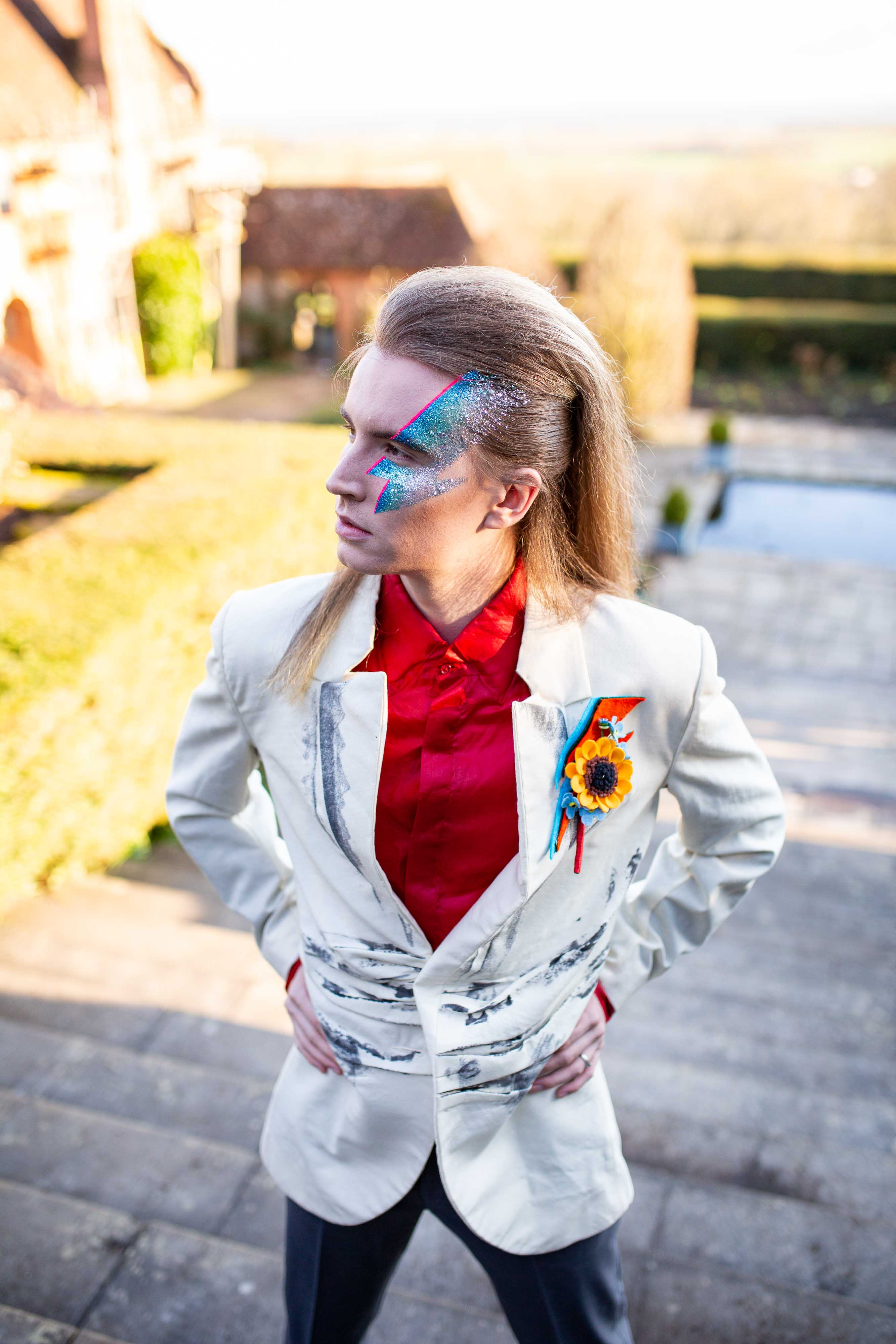 wedding menswear- alternative groomswear- music themed wedding- bake to the future- florence berry photography- davie bowie suit- eccentric wedding- starman wedding- davie bowie wedding