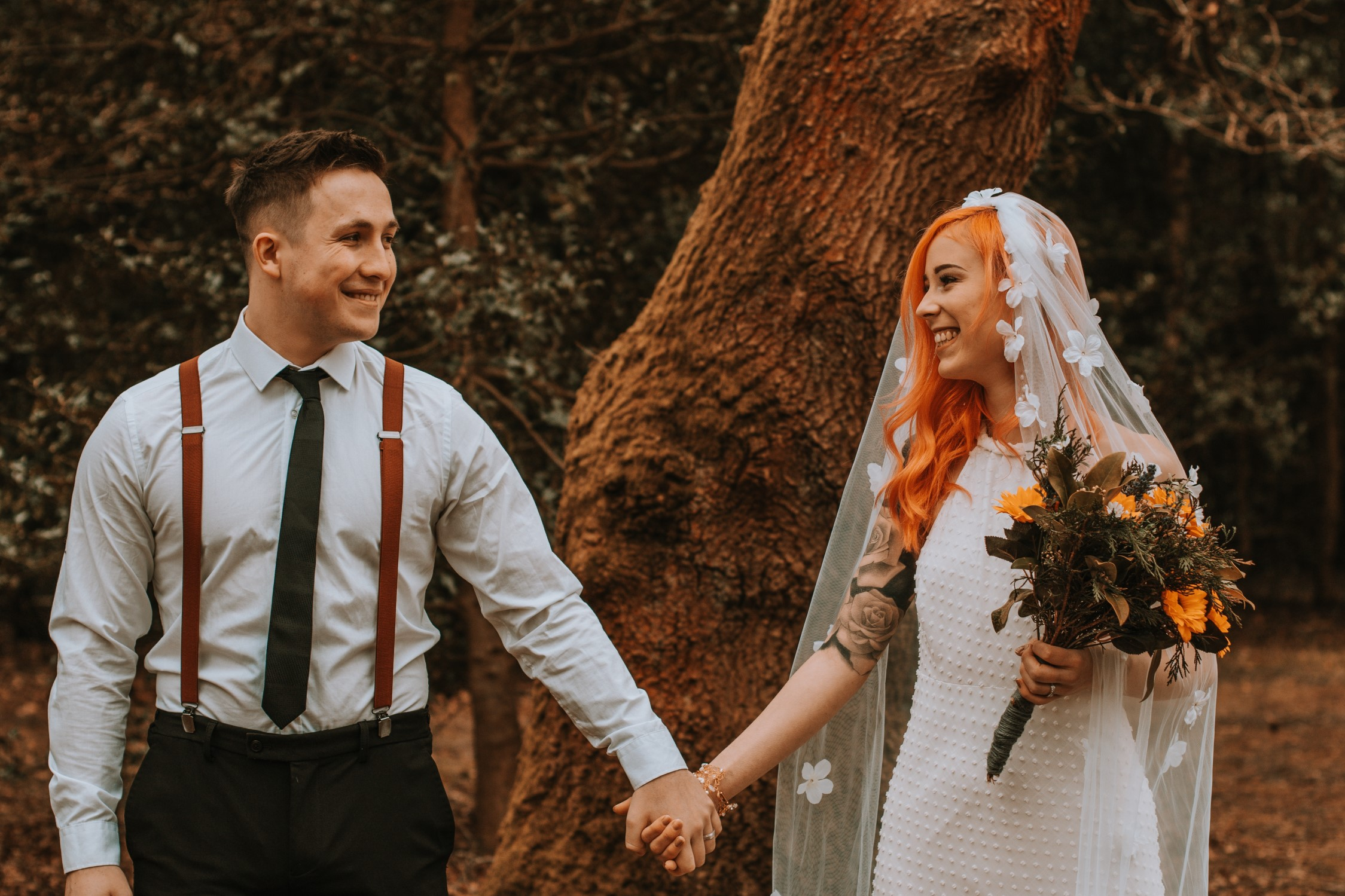 Alternative Forest Wedding - Sammy Leas Retro Emporium -Photography By Wills- alternative wedding - unconventional wedding- edgy woodland wedding-autumn wedding inspiration