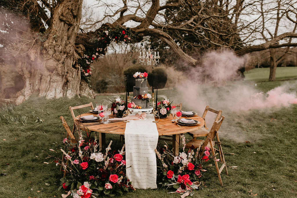 romantic woodland wedding - whimsical wedding- shakespeare wedding- unconventional wedding- wedding table styling- wedding smokebomb