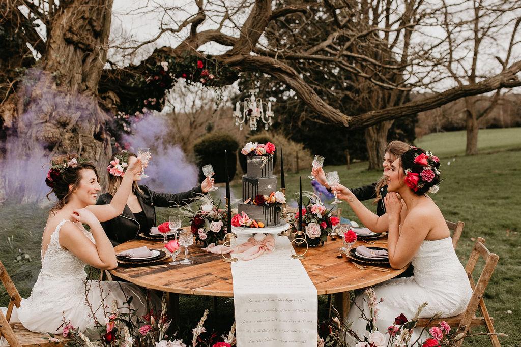 romantic woodland wedding - whimsical wedding- shakespeare wedding- unconventional wedding- unique wedding table-wedding smokebomb