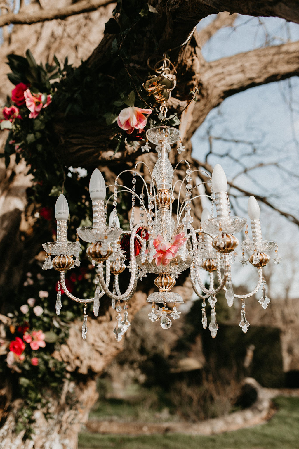 romantic woodland wedding - whimsical wedding- shakespeare wedding- unconventional wedding- chandelier hanging from tree