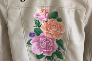 Gamusino designs - white hand painted bridal jackets with floral detail and bespoke wording