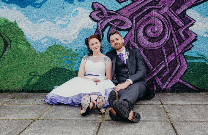 retro wedding dress - purple underskirt wedding dress - urban retro wedding 0 coloured wedding dresses - unconventional wedding - alternative wedding dresses - unique wedding dresses