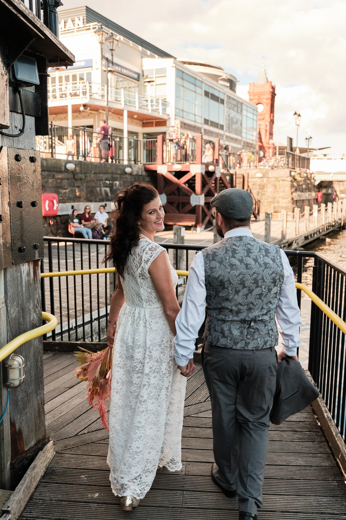 city elopement- cardiff bay wedding- wales elopement- urban elopement - cardiff wedding - colourful summer wedding- pier wedding photos