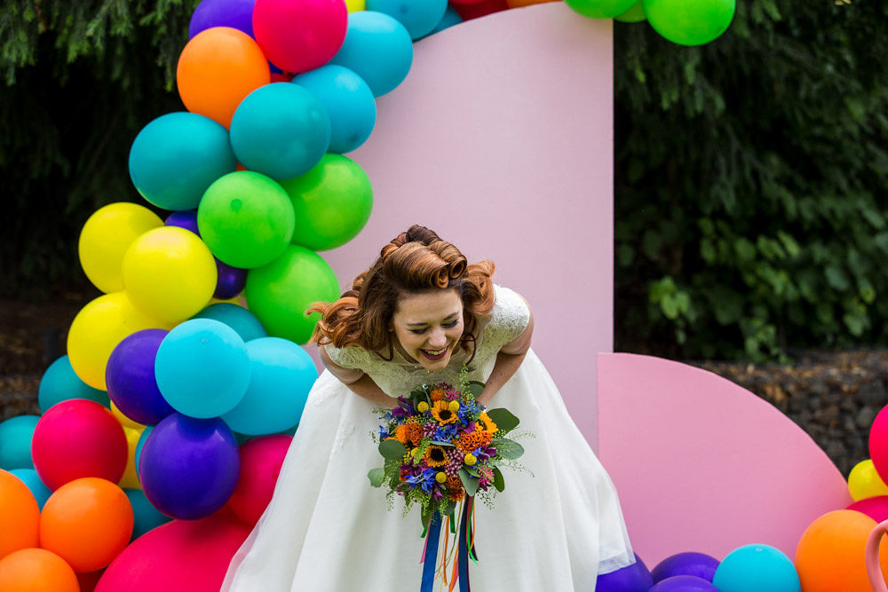 flamingo wedding - colourful wedding - rainbow wedding - garden wedding - summer wedding - unconventional wedding - alternative wedding- laughing bride