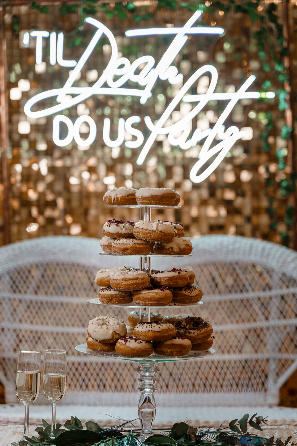 peacock themed wedding - peacock wedding - unique wedding colour scheme - quirky wedding - luxurious wedding - neon wedding sign - til death do us party - sparkly wedding backdrop-- wedding doughnuts