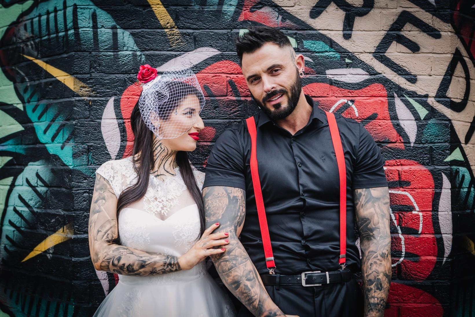 urban rockabilly wedding - east london wedding- urban wedding- rockabilly wedding- edgy wedding - retro wedding - alternative wedding- unconventional wedding- tattooed wedding- birdcage veil