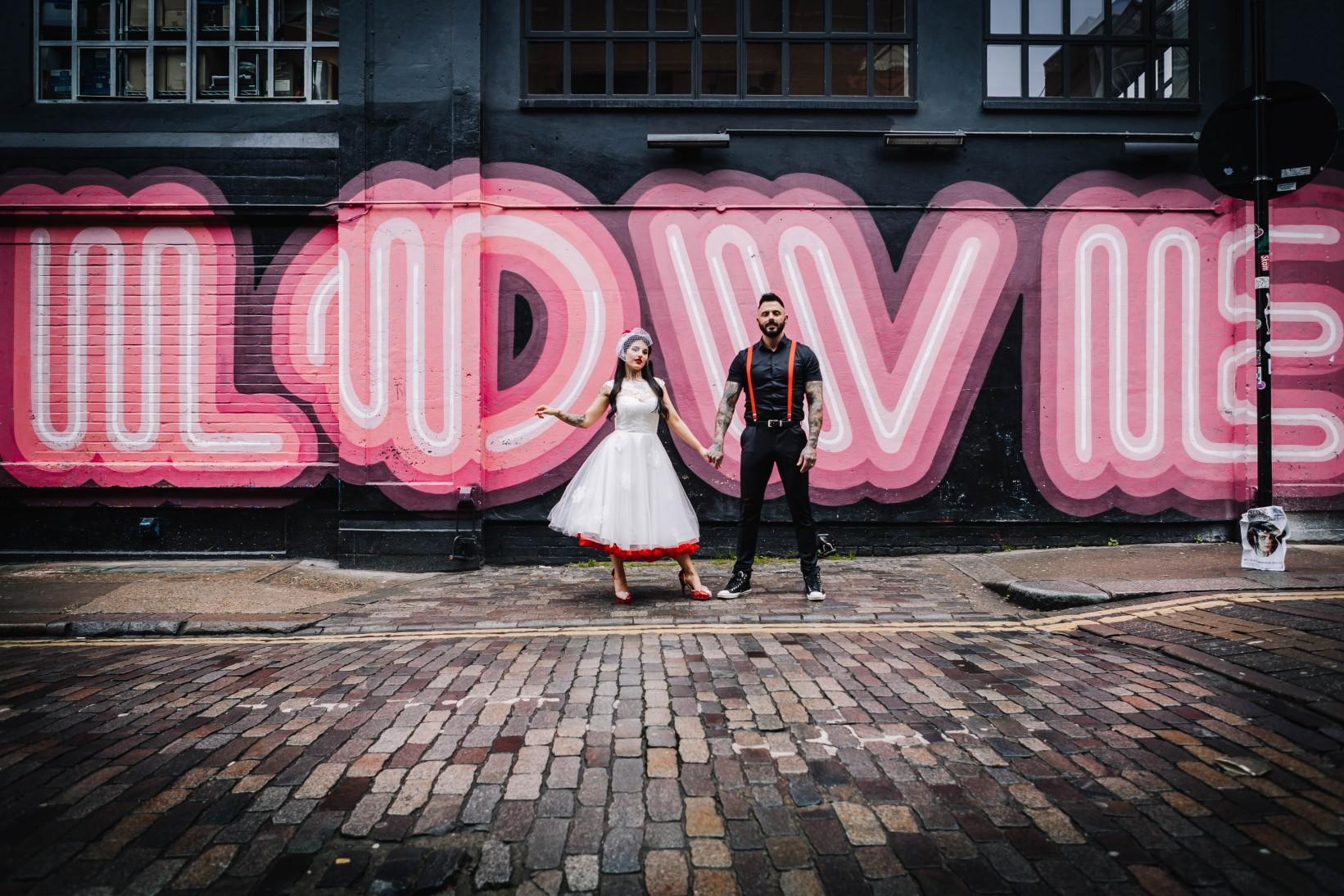 Urban Rockabilly Wedding - Urban Wedding - Magpie-Eye Photography- Unconventional Wedding- love graffiti