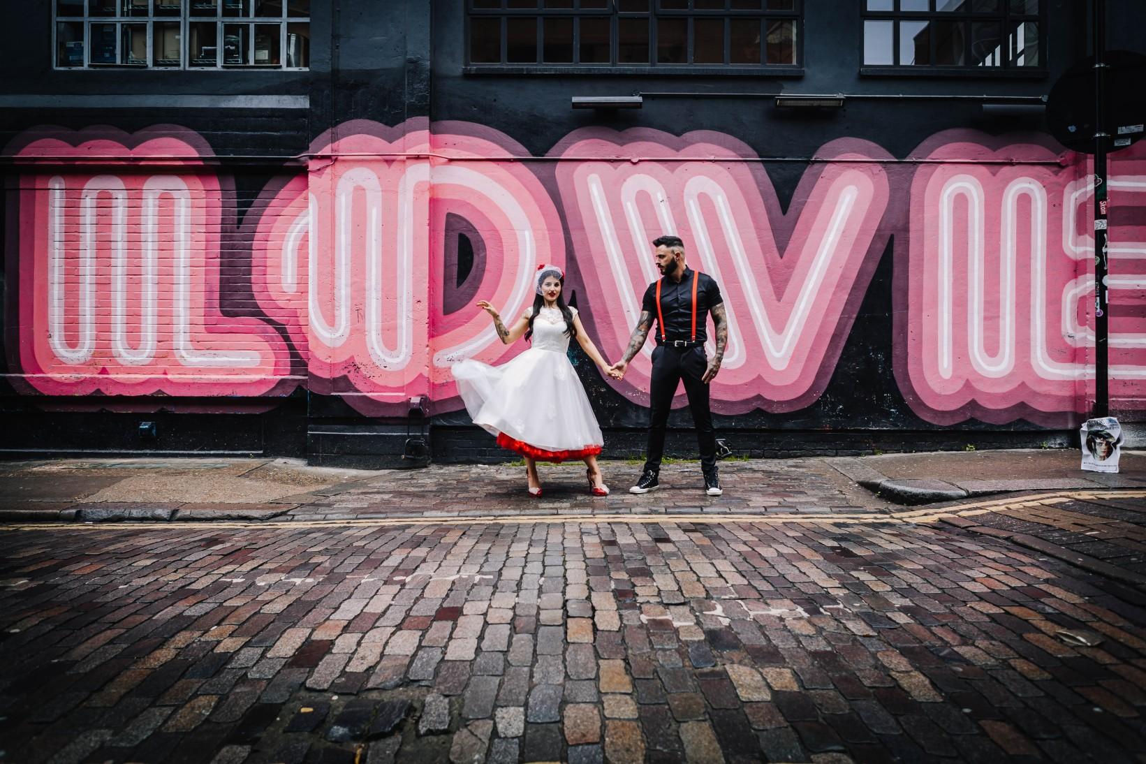 urban rockabilly wedding - east london wedding- urban wedding- rockabilly wedding- edgy wedding - retro wedding - alternative wedding- unconventional wedding- graffiti in london