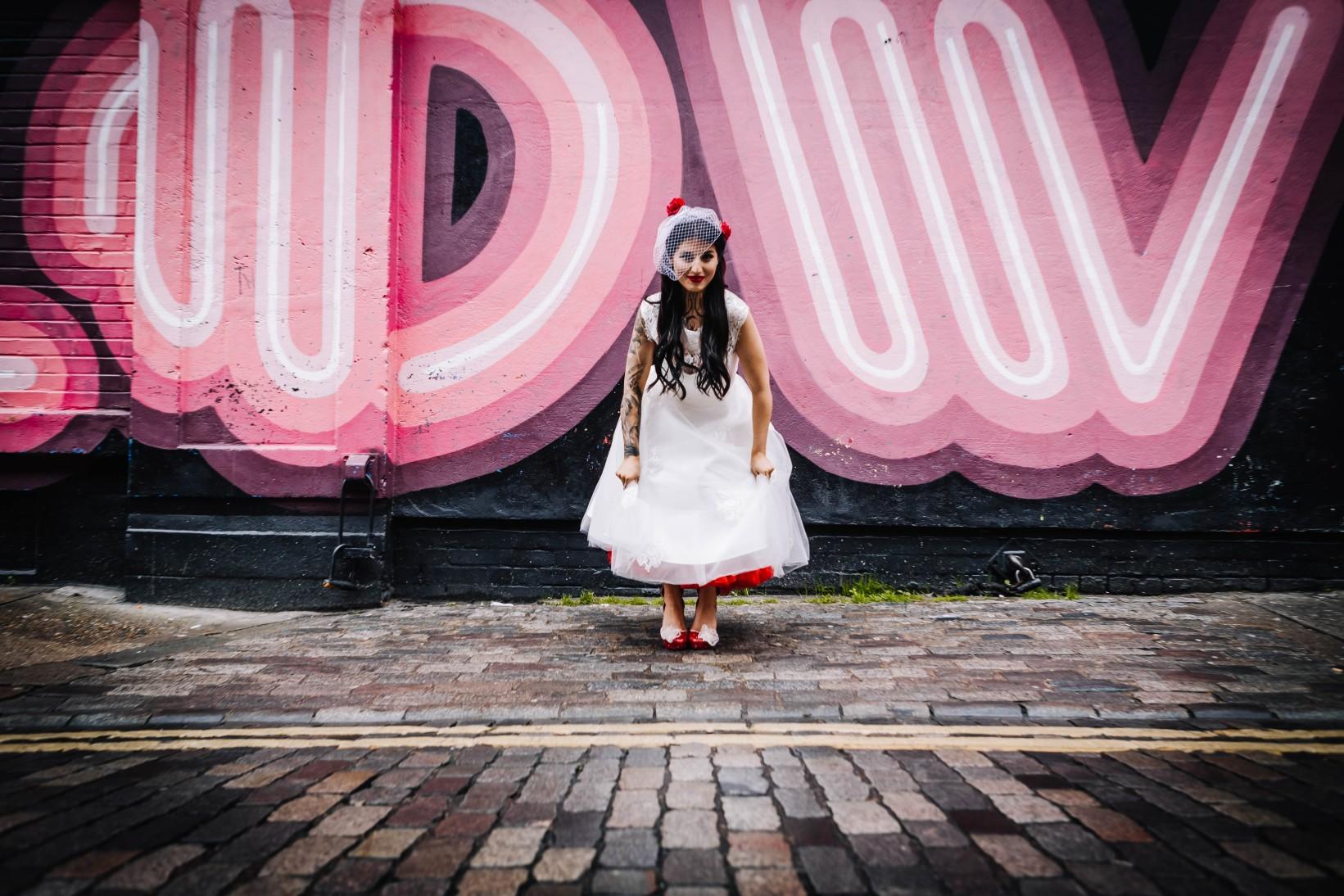 urban rockabilly wedding - east london wedding- urban wedding- rockabilly wedding- edgy wedding - retro wedding - alternative wedding- unconventional wedding- unique bridalwear- alternative wedding dress- retro wedding dress