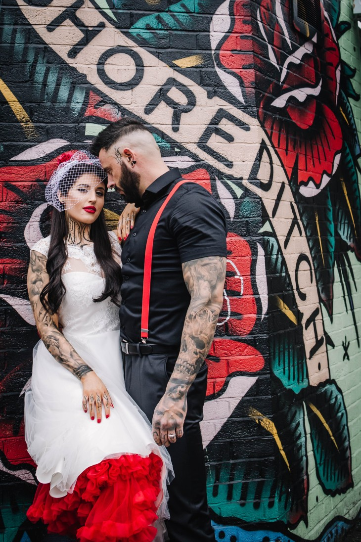 Urban Rockabilly Wedding - Urban Wedding - Magpie-Eye Photography- Unconventional Wedding- alternative bridalwear- retro bridalwear- retro wedding dress- groom in red suspenders